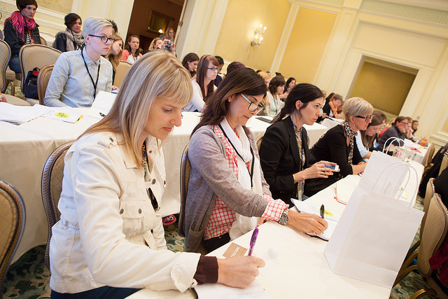 Taking notes at Alt Summit SLC summer 2014 (I'm on the front left)