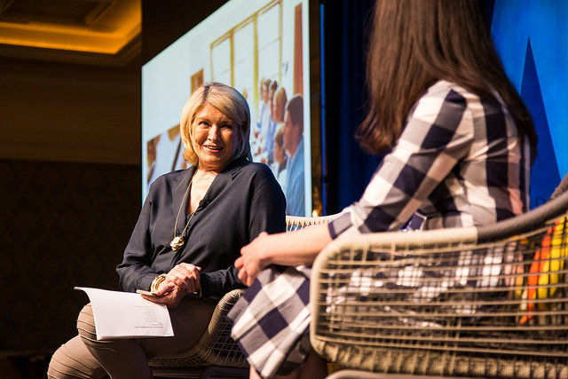 Martha being interviewed by Gabrielle Blair; photo by Justin Hackworth