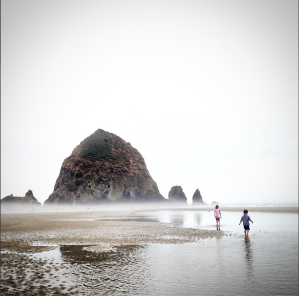 My children enjoying low tide at Haystack Rock in Cannon Beach, Oregon (from  my Instagram account )