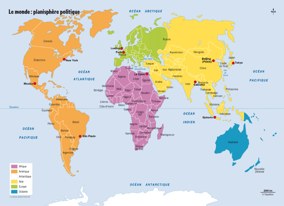 World map in French via  Carteograf.fr