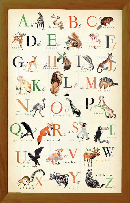 Vintage French animal alphabet poster via  ChildsTouch  on Etsy