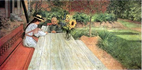 The First Lesson  by Carl Larsson, 1903