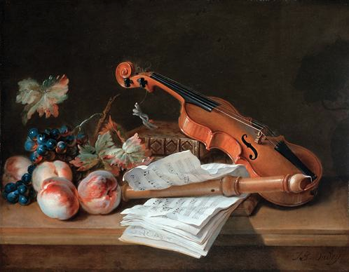 Still life with a violin, a recorder, books, a portfolio of sheet music, peaches, and grapes on a table top by Jean-Baptiste Oudry
