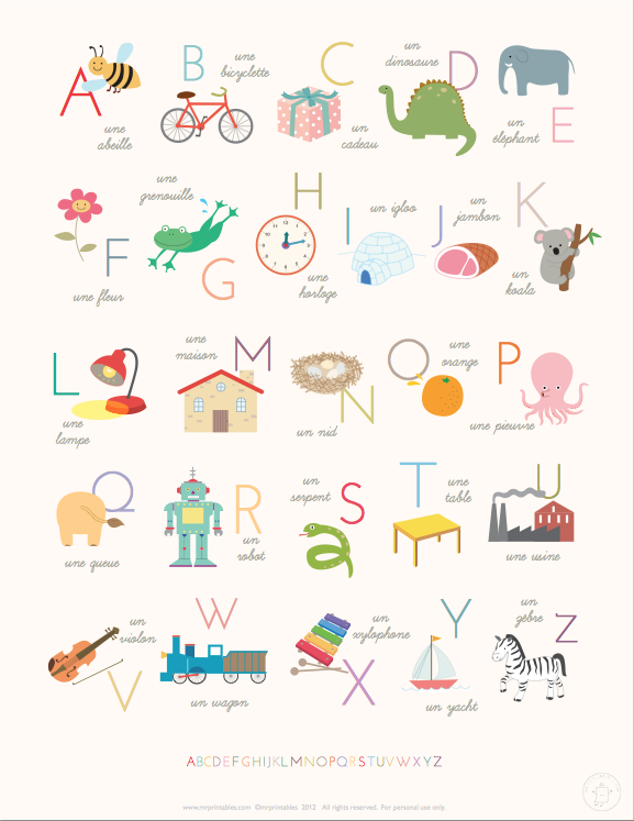 Printable French alphabet poster from  MrPrintable.com