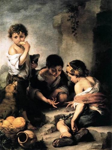 Boys Playing Dice by Bartolome Esteban Murillo, 1675