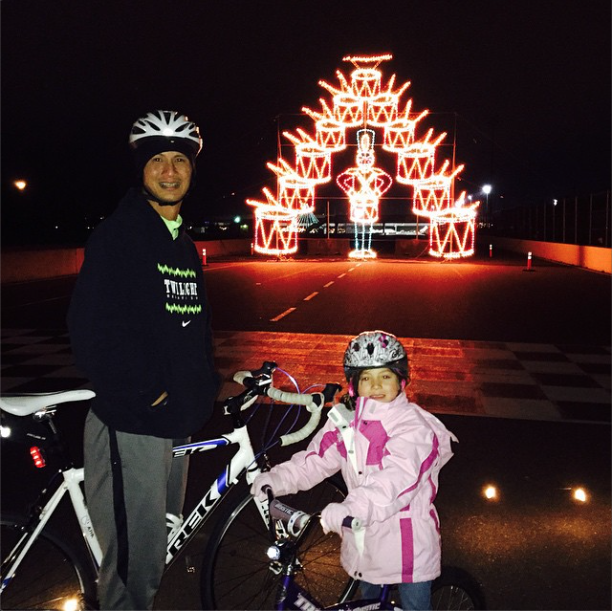 My husband and daughter at PIR's Bike the Lights (from  his Instagram account )