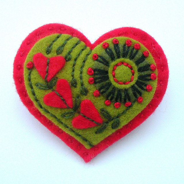 Embroidered heart by  Jane