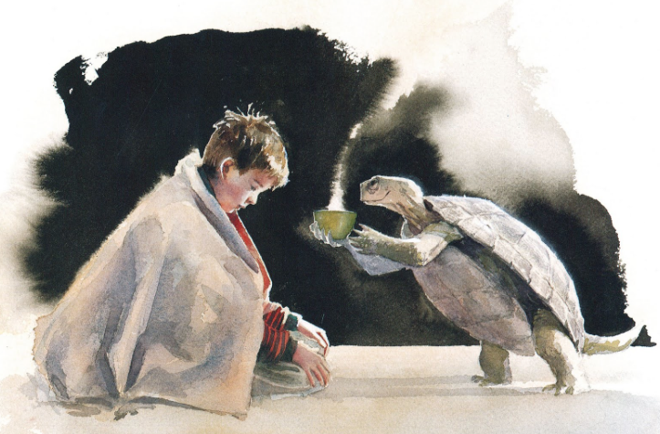 The boy (Nicolai) and Leo the Turtle (illustrations by Jon Muth)