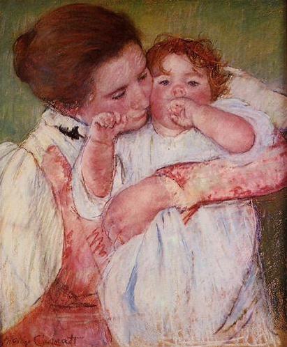 Little Ann sucking her finger embraced by her mother by Mary Cassatt, 1897