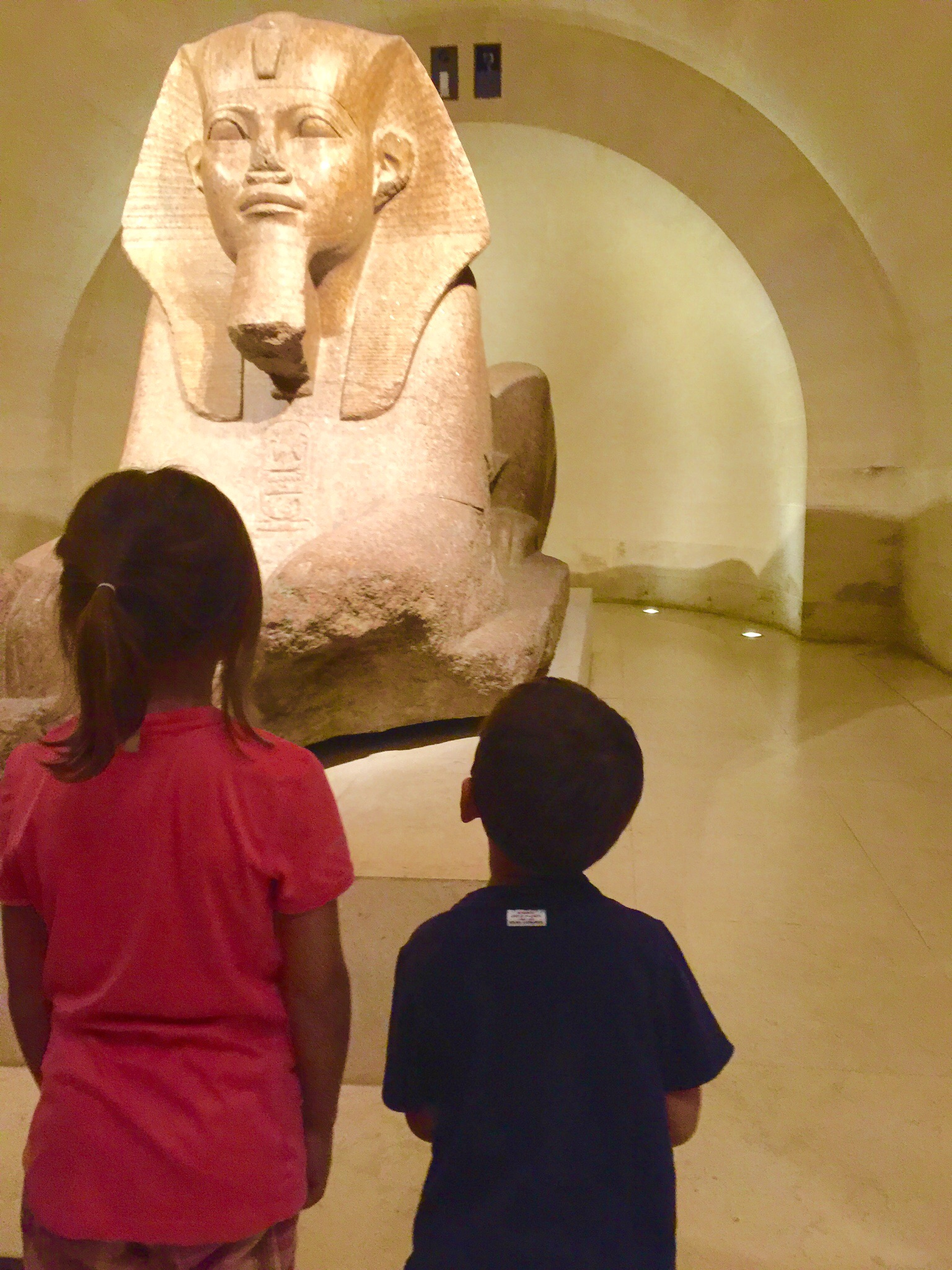 Looking at a sphinx in the Sully wing, the Louvre