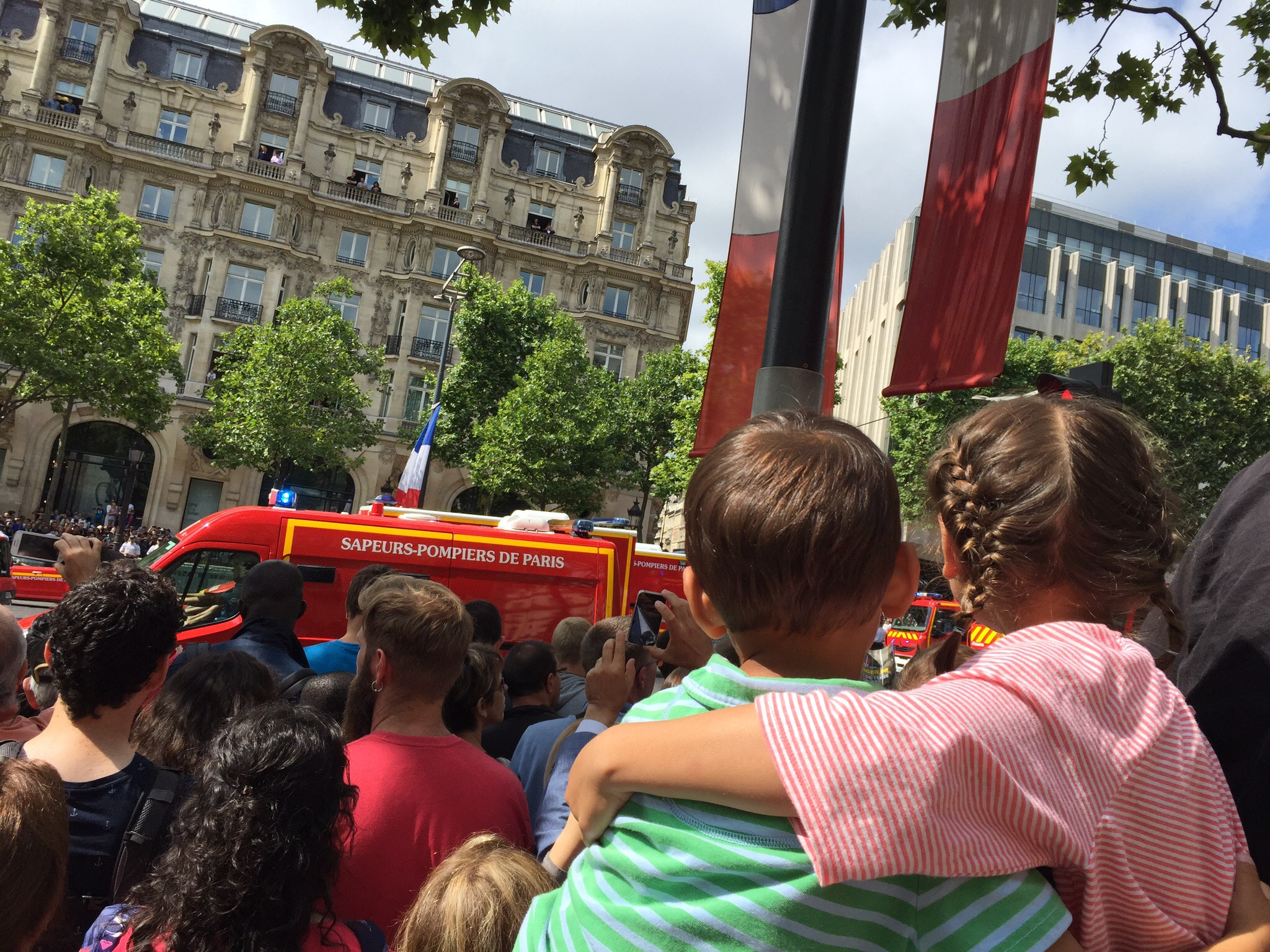 There were big cheers for the pompiers--they're clearly a crowd favorite!