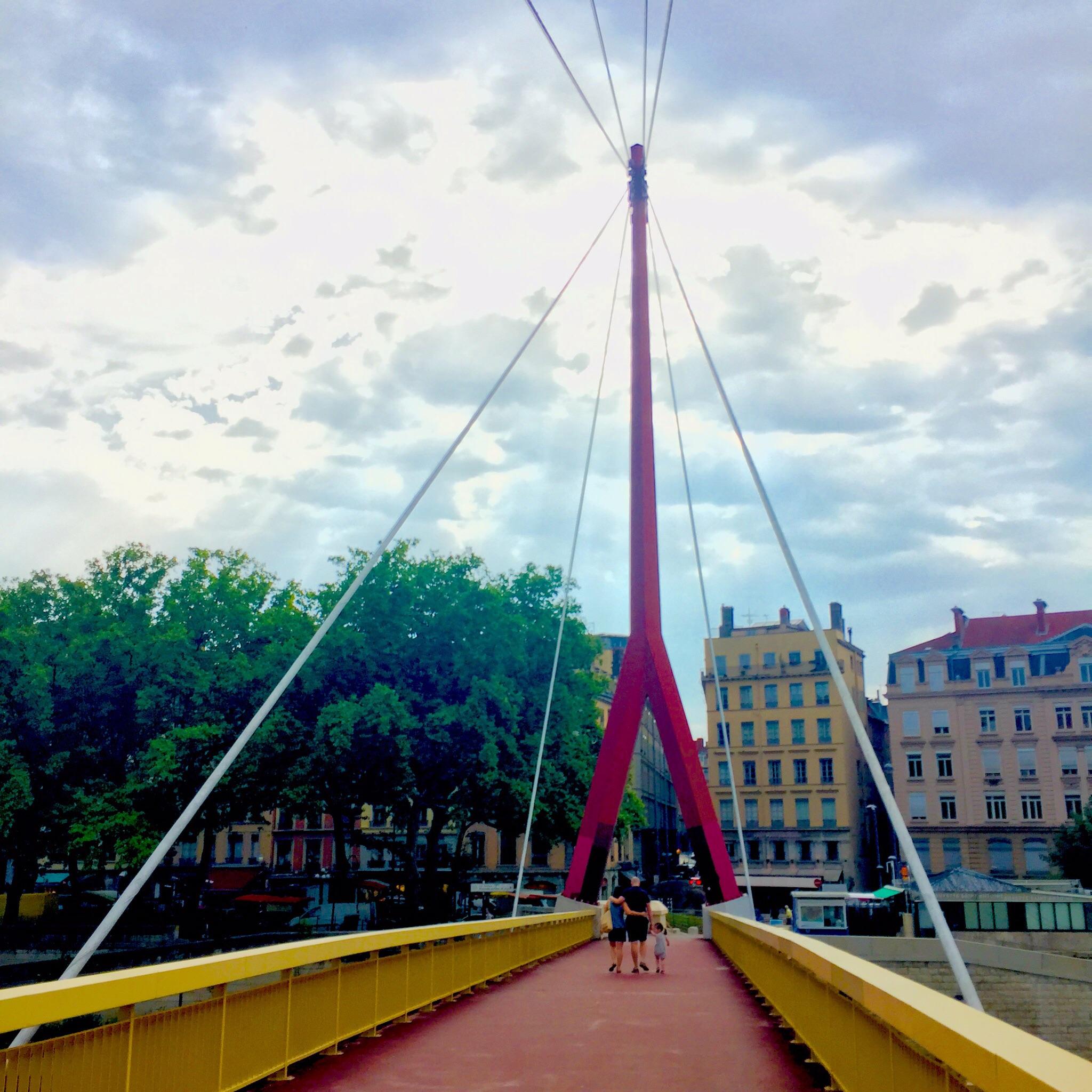 Pedestrian bridge (passerelle) to the Quai Saint Antoine, Lyon, where the daily outdoor market is held