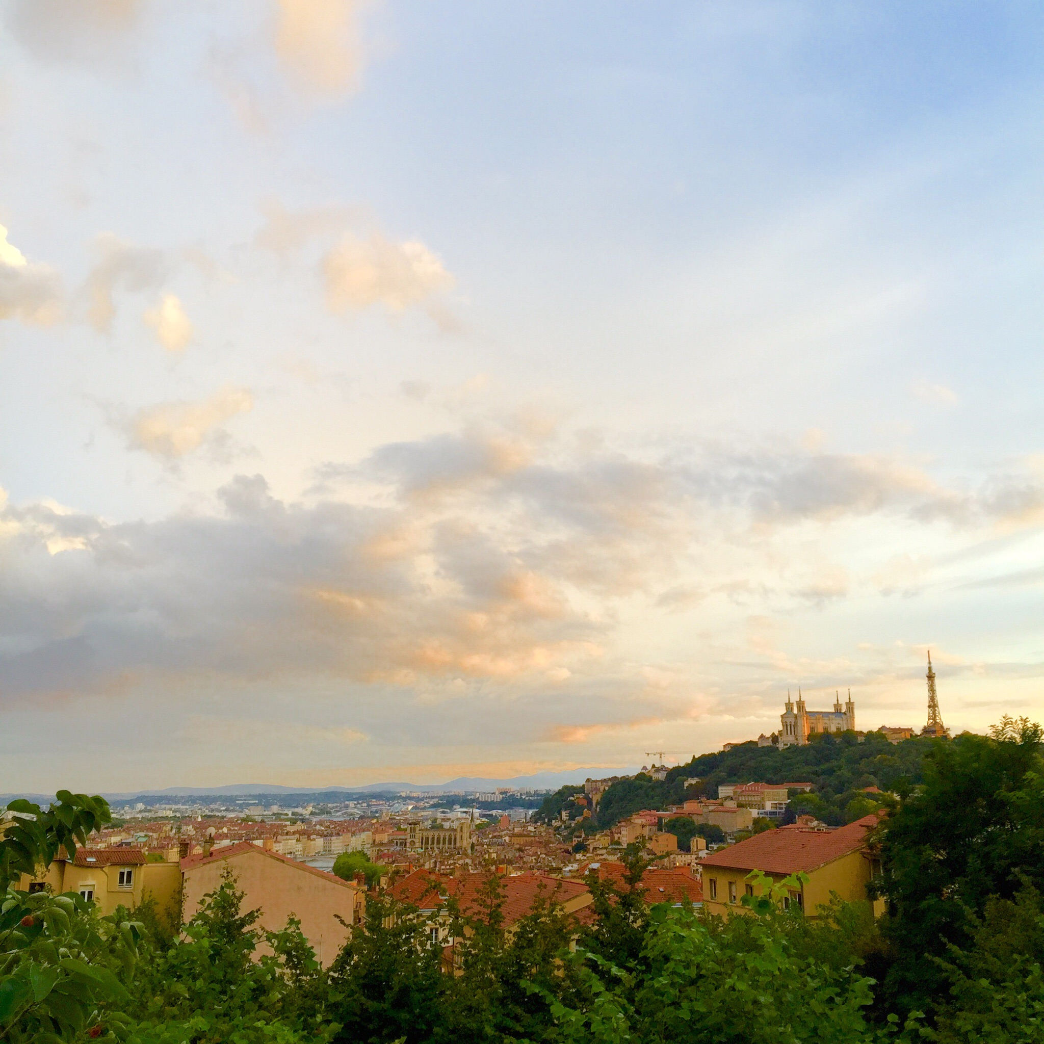 View of Lyon and Fourvière hill from Croix Rousse