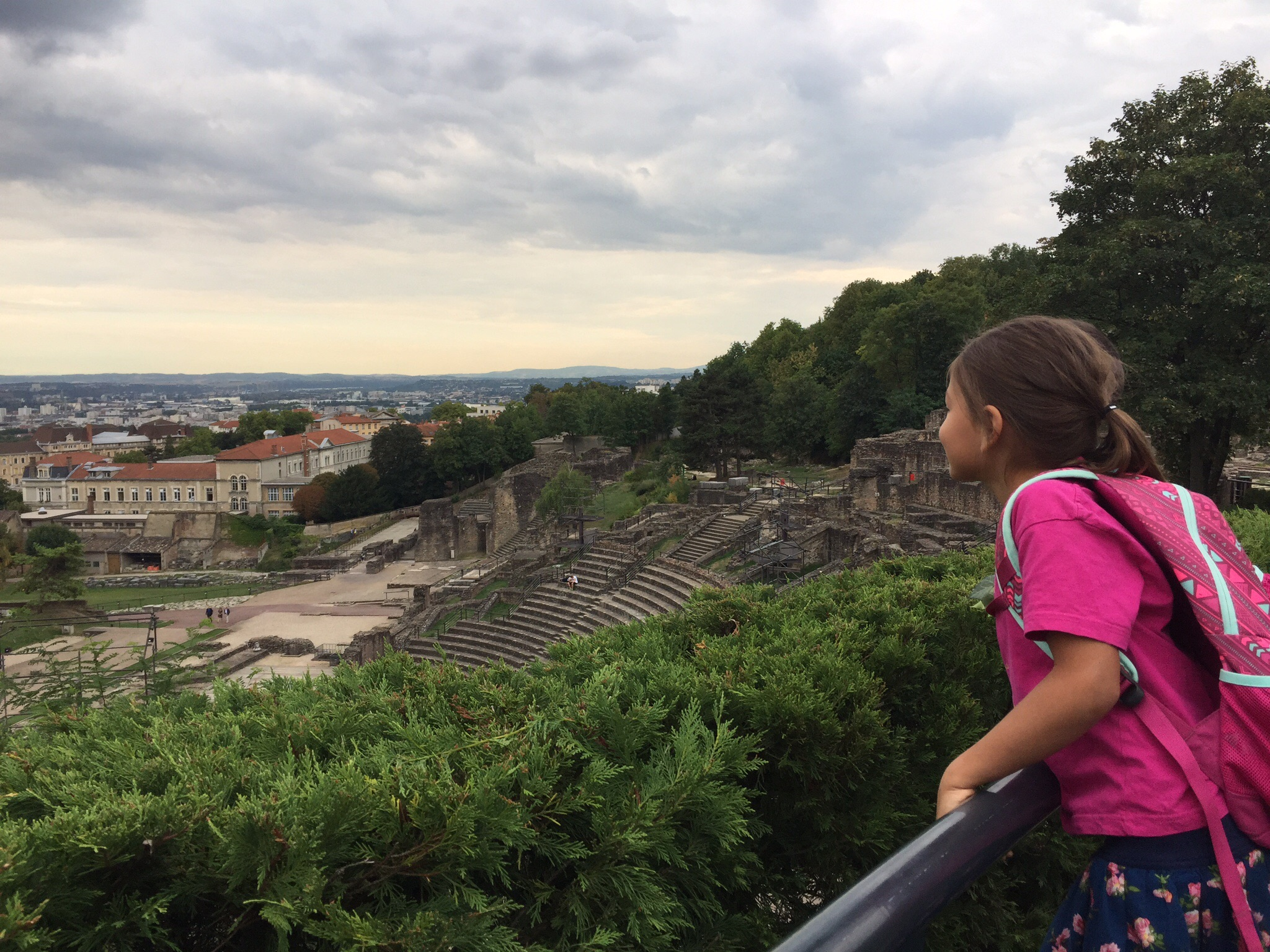 Examining the view of Lyon from Fourviere Hill