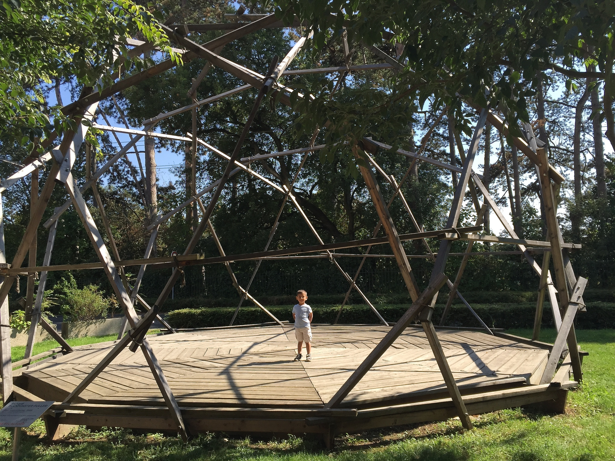 My son in a geometric dome near the Musée d'Art Contemporaine, Lyon, France