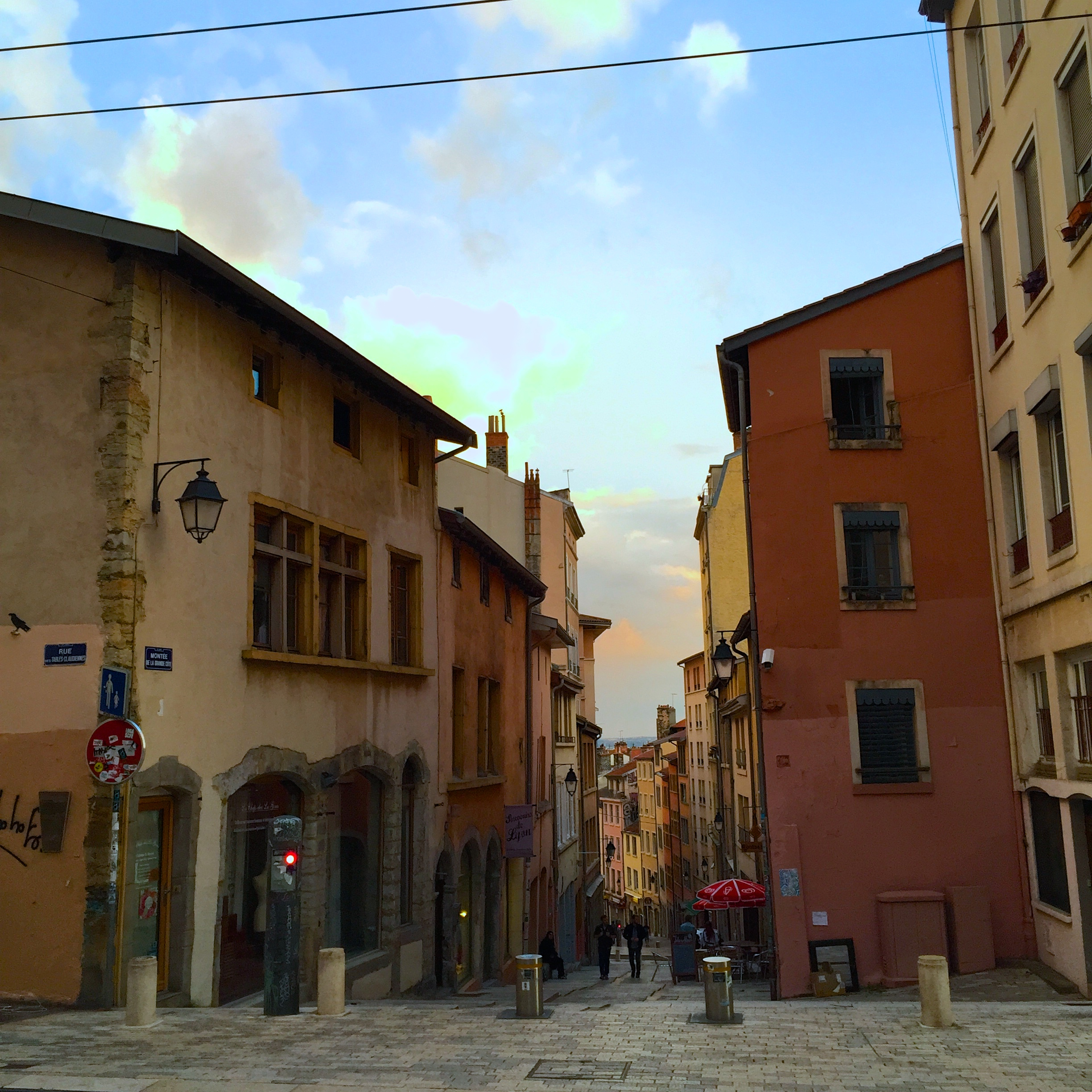 Apartments along the colorful streets of Croix Rousse, Lyon, France
