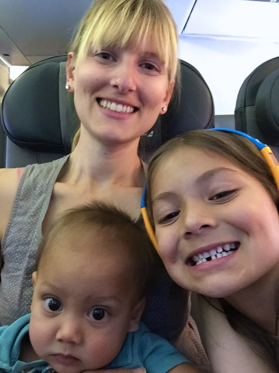 A selfie during our flight (my three-year-old might have been sleeping)