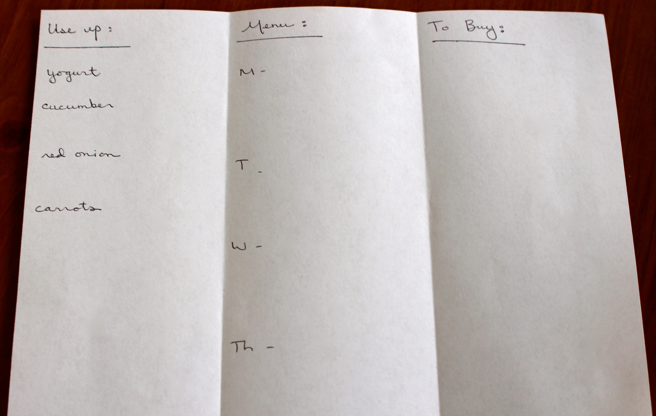A sample menu planning page (I'm already starting step two here)