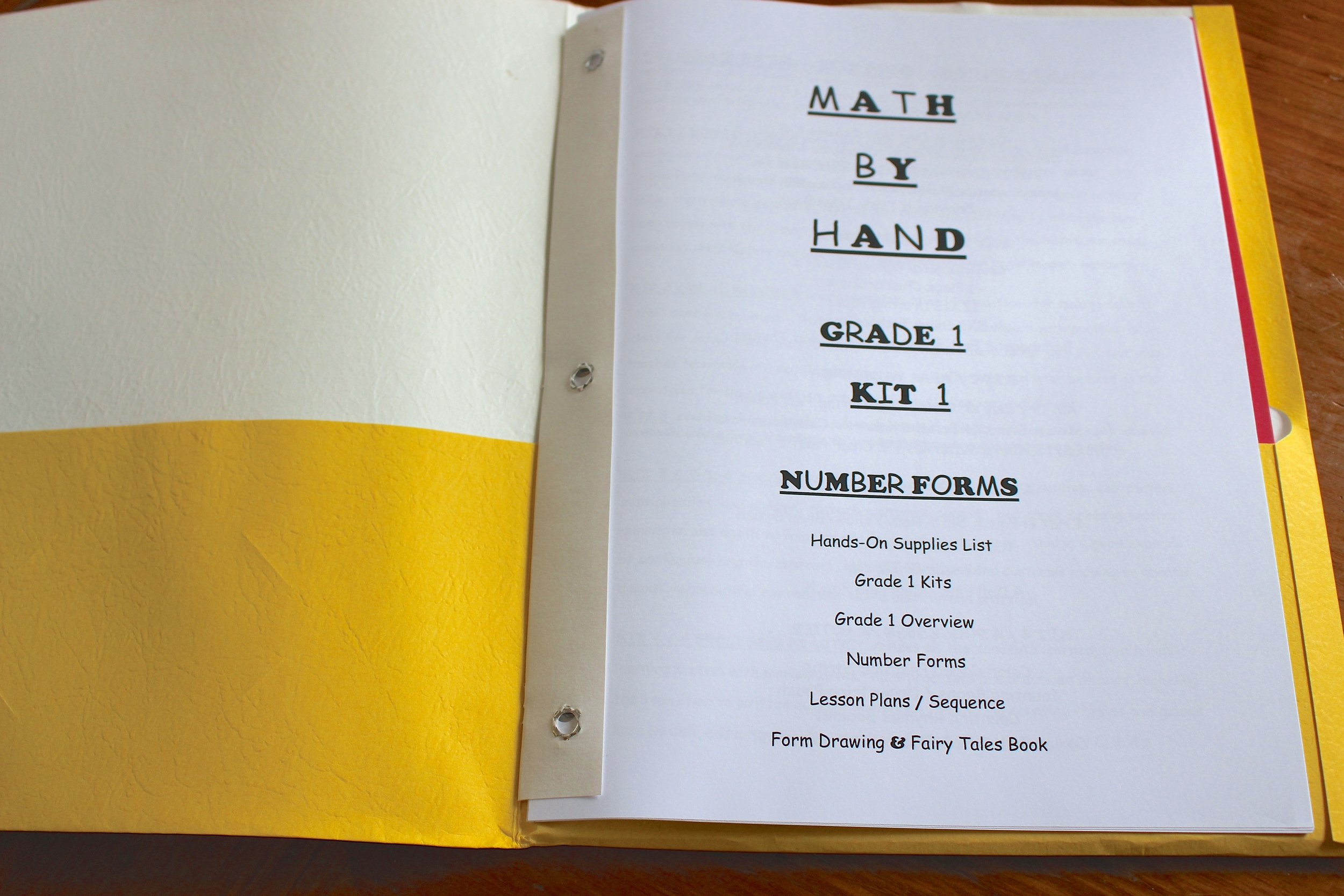 The title page from the Math By Hand: Number Forms guide