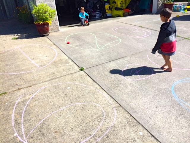 driveway chalk number games beanbag
