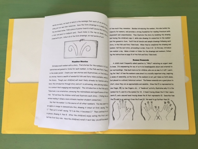 A sample page from the guide for Math By Hand kit 1, grade 1