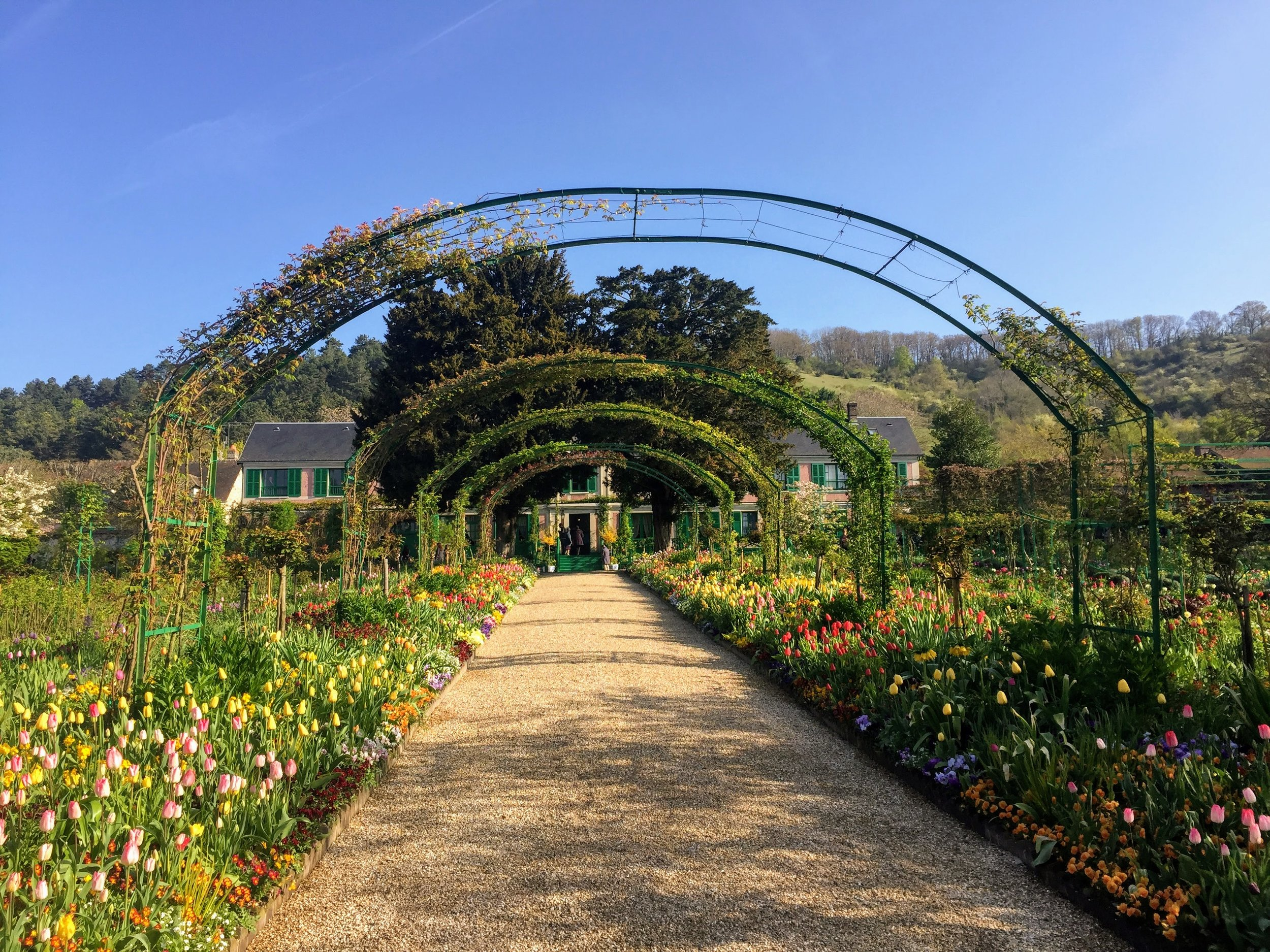 Looking towards Monet's home through the arches