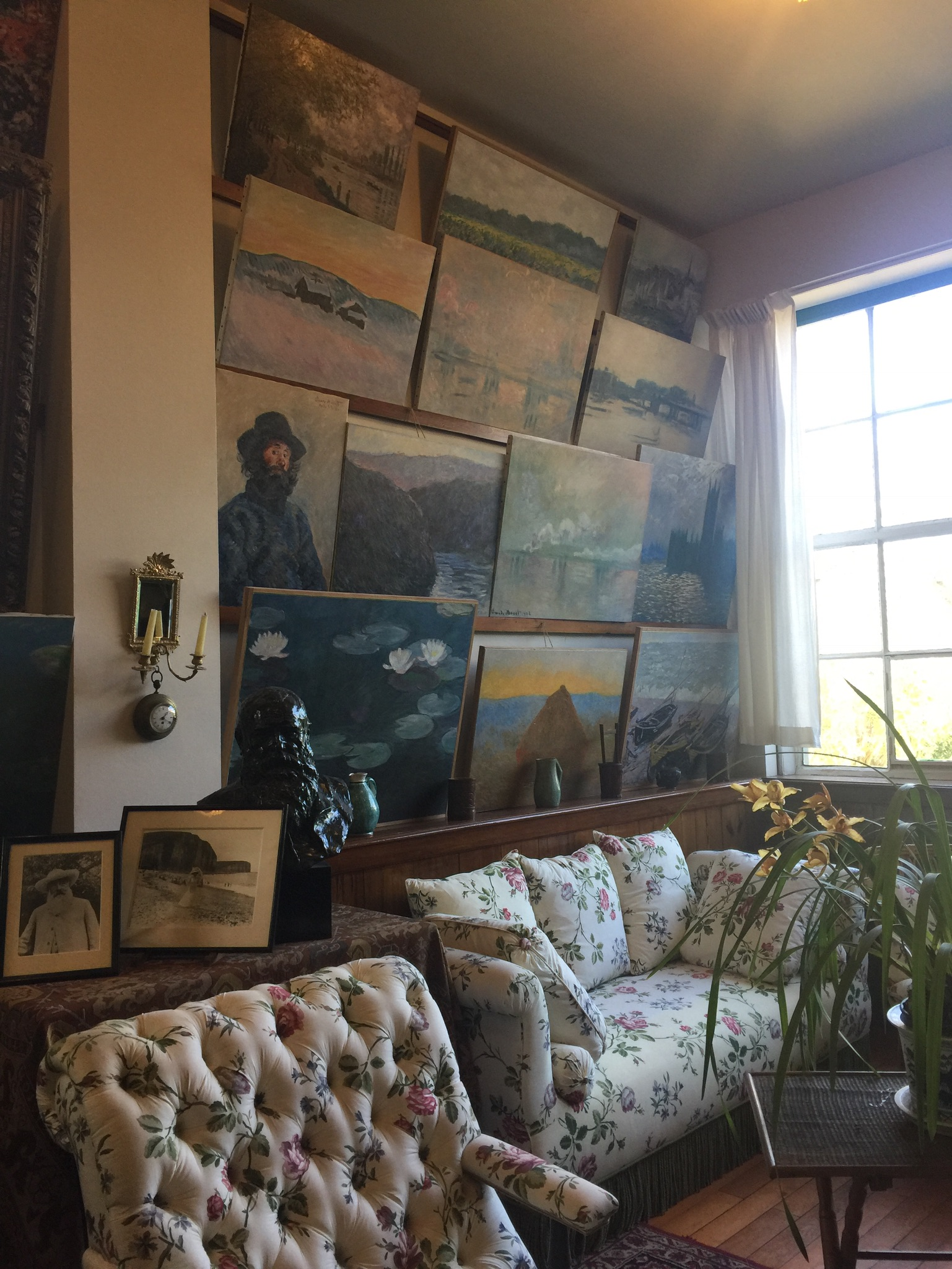 Monet's home studio with replica paintings