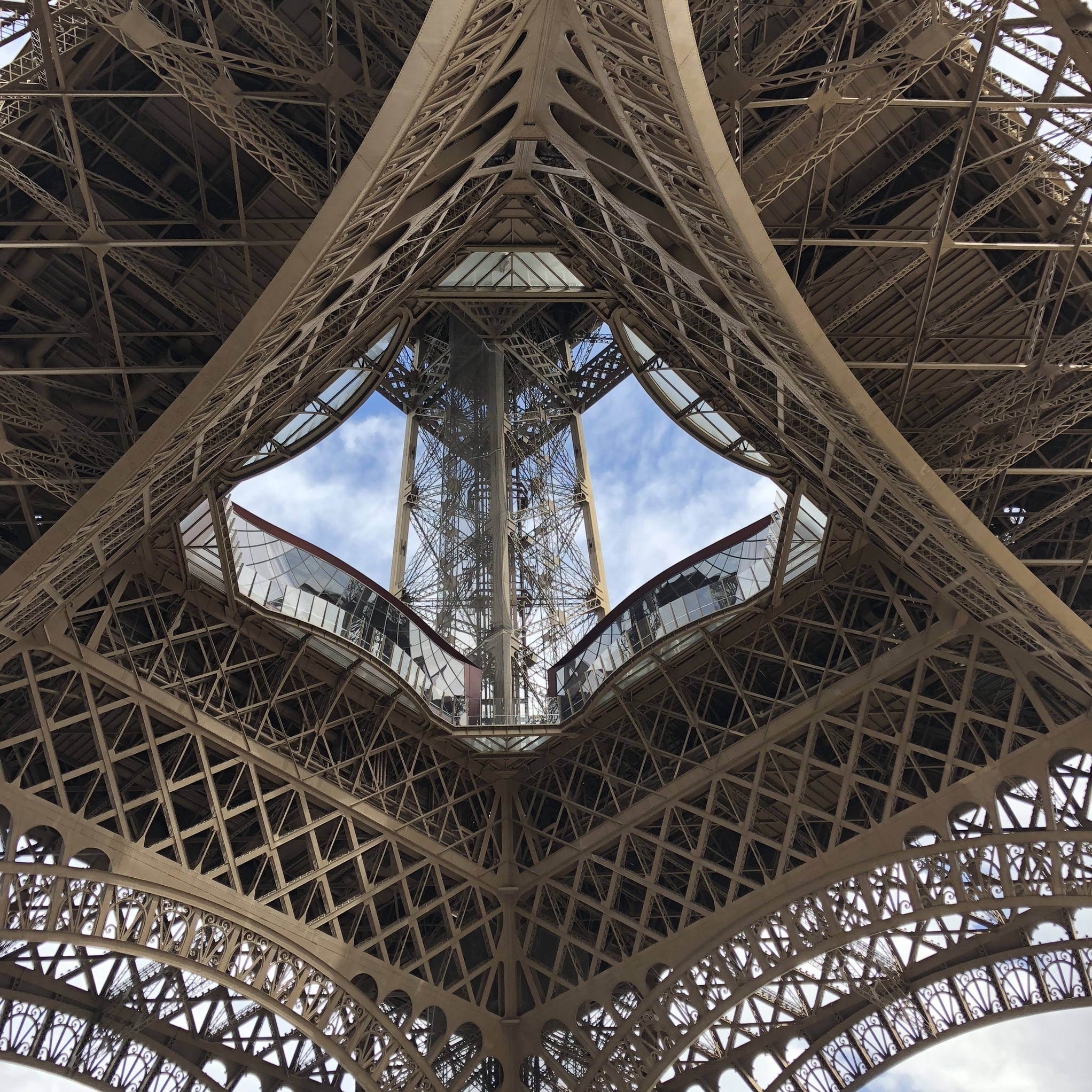 Eiffel Tower from beneath girders