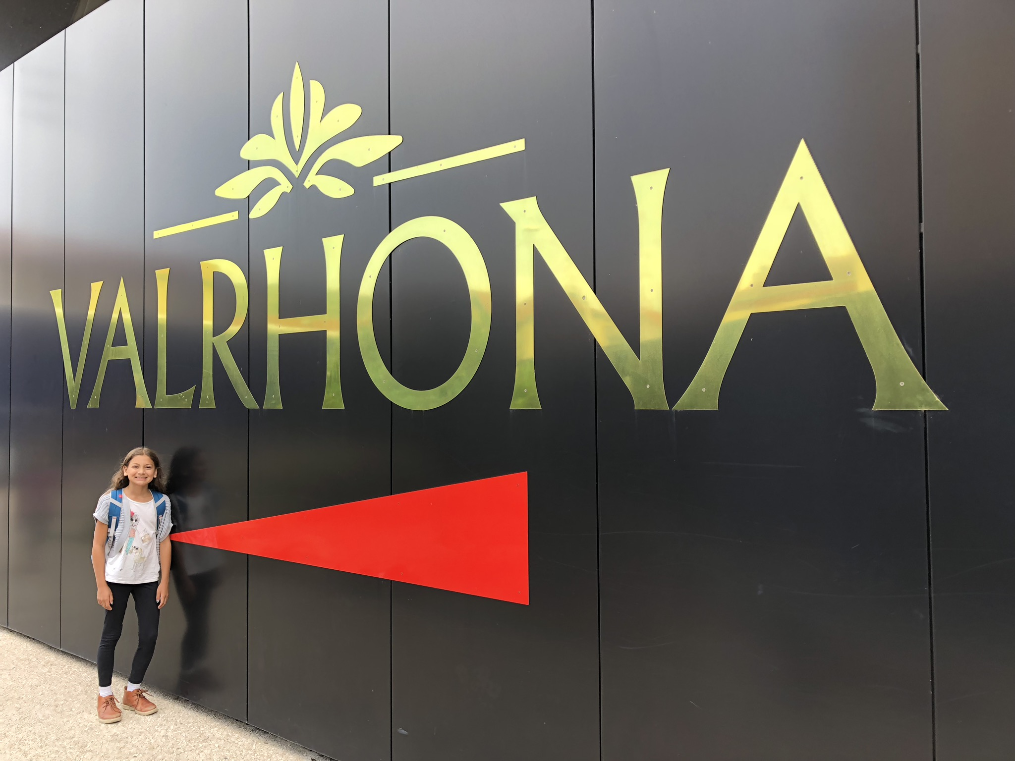 My daughter outside Valrhona's Cité du Chocolat, Tain l'Hermitage, France
