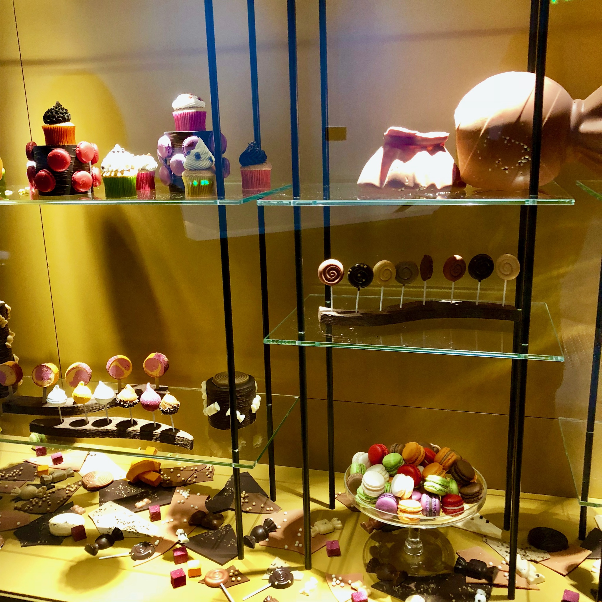 Pâtisserie display on the first floor of Cité du Chocolat