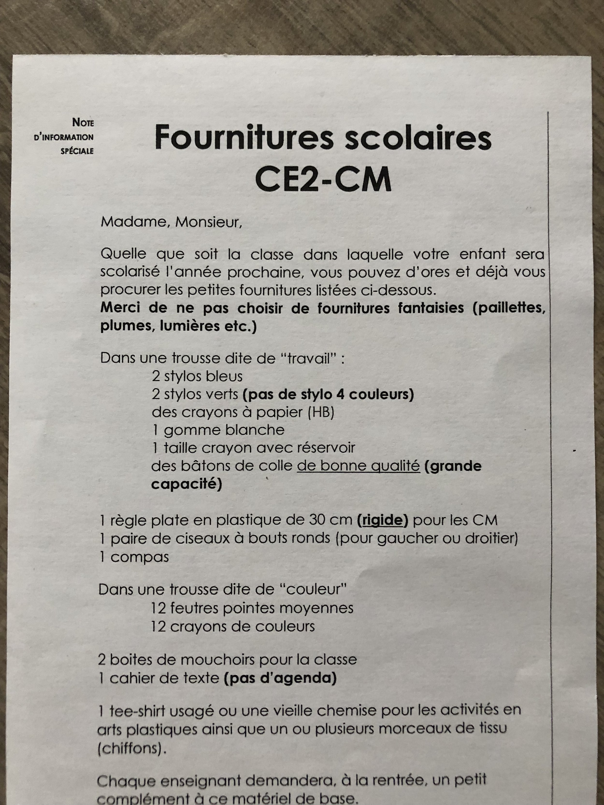 Our French school supply list (for 3rd & 4th grades)
