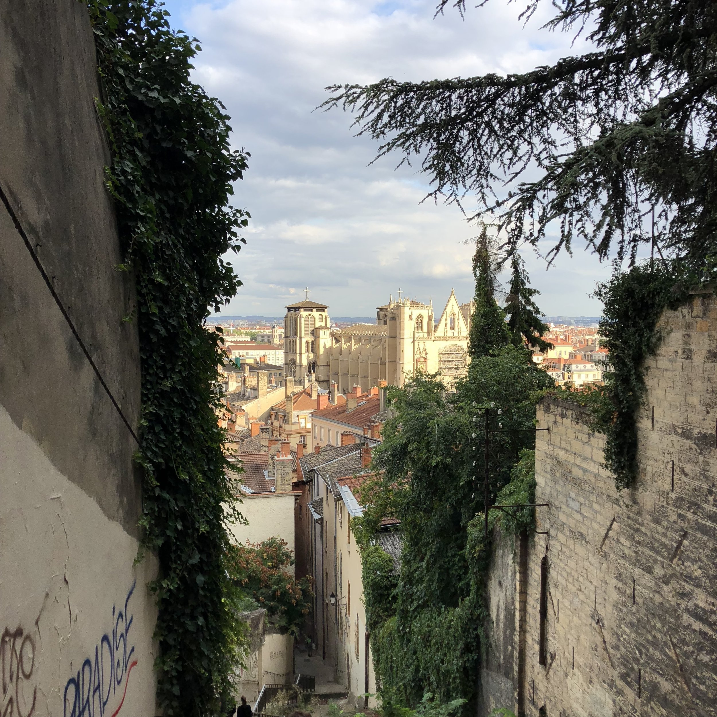 """Paradise"" with a view of Cathedral Saint Jean and the rooftops of Vieux Lyon"