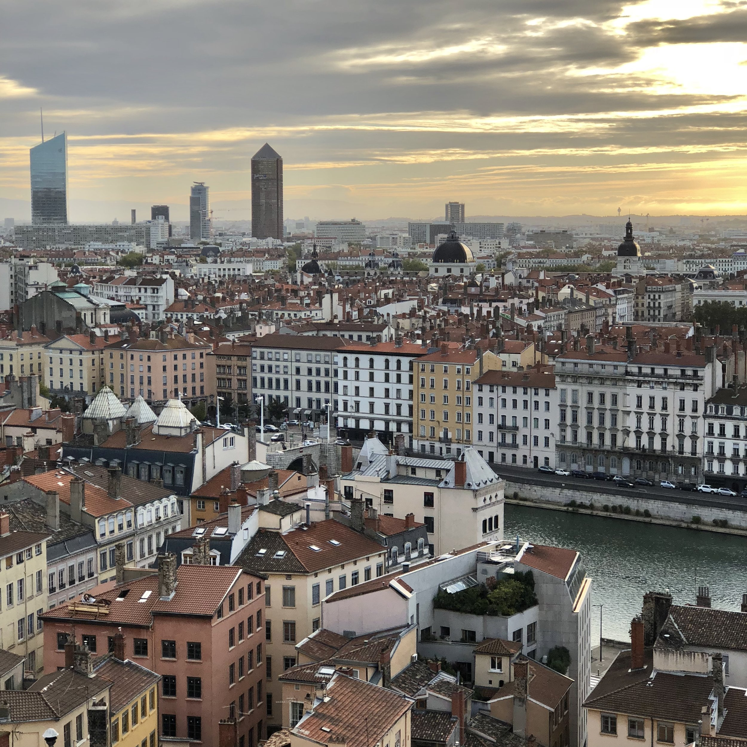 Morning view over Vieux Lyon, the Saone, the Presqu'île, and the skyline