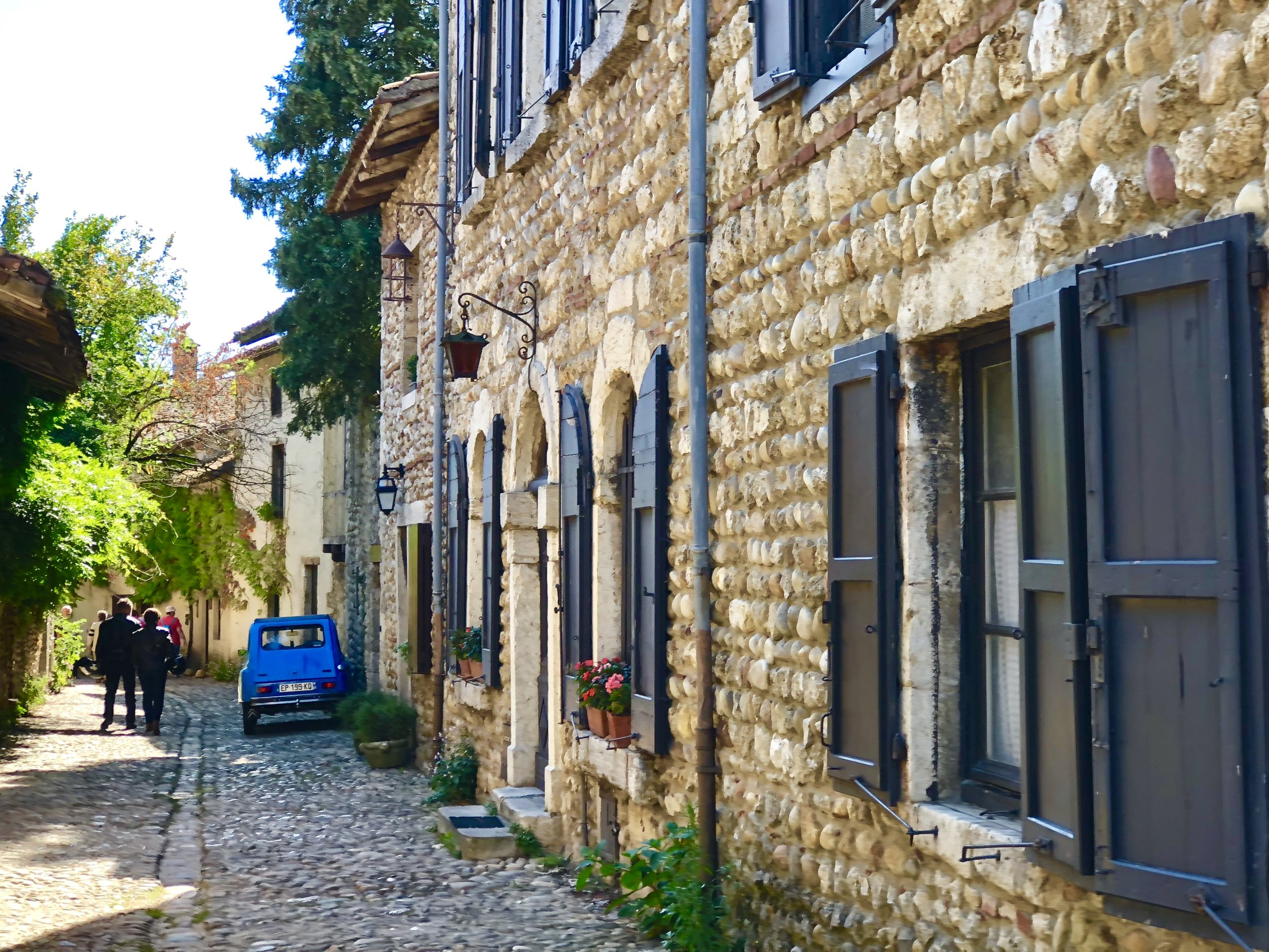 A street in the medieval-era village of Pérouges, Ain, France