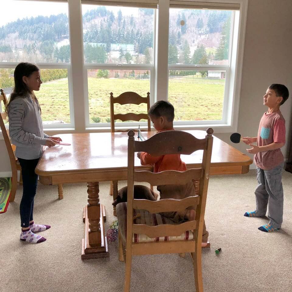 Playing tabletop ping pong