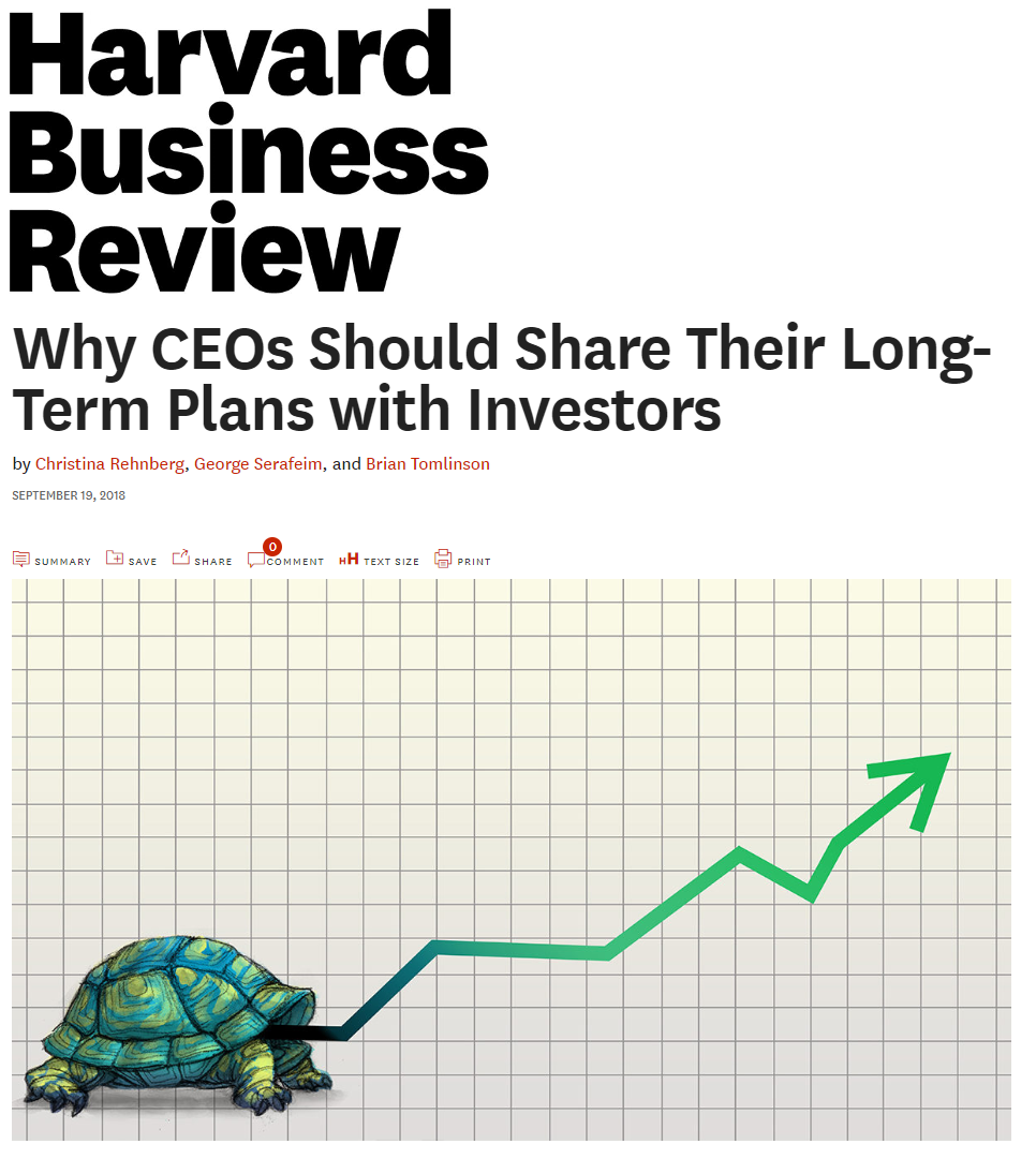 Title:  Why CEOs Should Share Their Long-Term Plans with Investors  Authors:  Christina Rehnberg, George Serafeim, Brian Tomlinson  Date:  September 2018