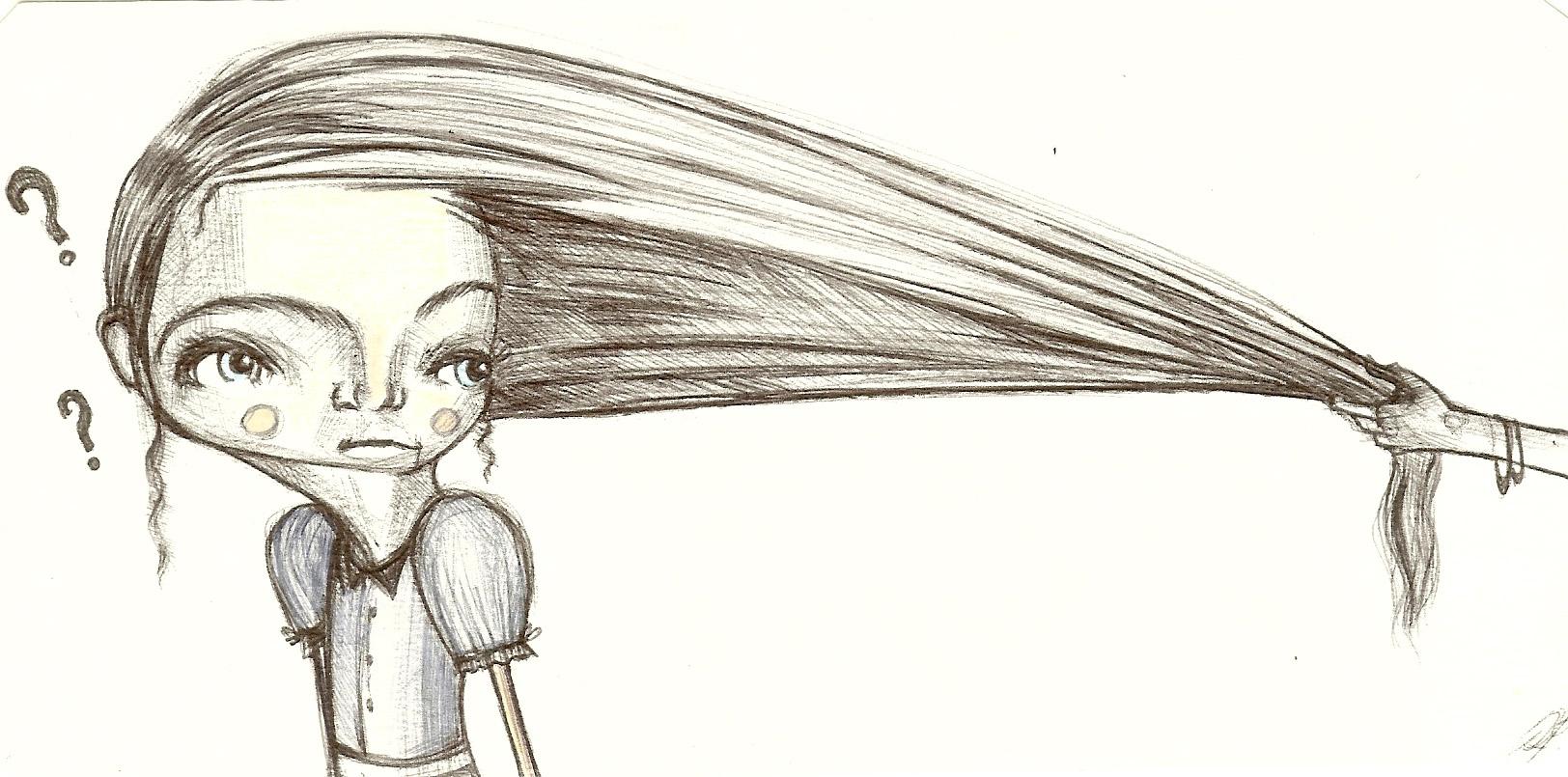 Mano che tira i capelli