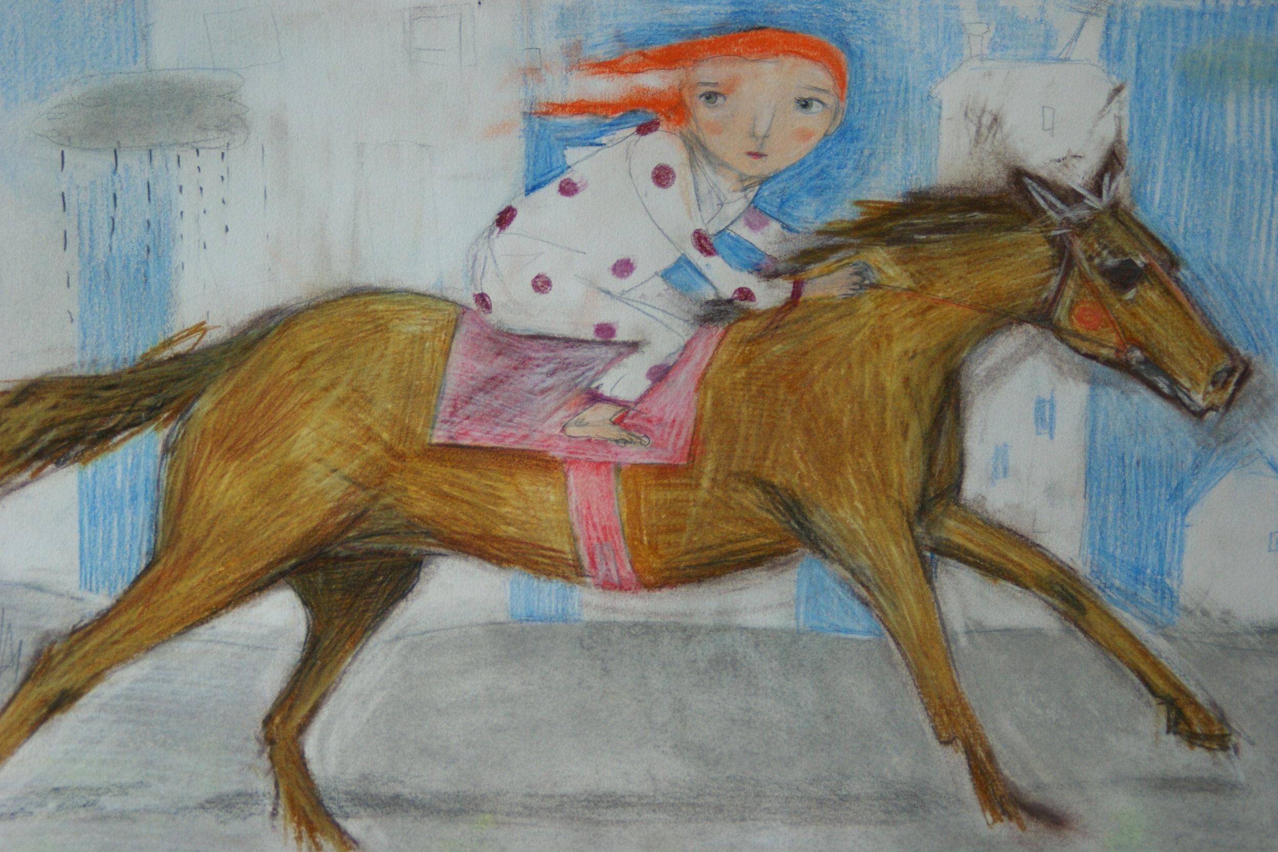 Fuga dalla città.  Opera realizzata a pastelli su carta 300 gr. Questo è il disegno che ha partecipato all'evento.