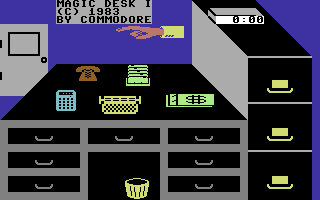 """Magic Desk 64's desktop, from 30 years ago. Yes, clicking the door represented """"exit""""."""