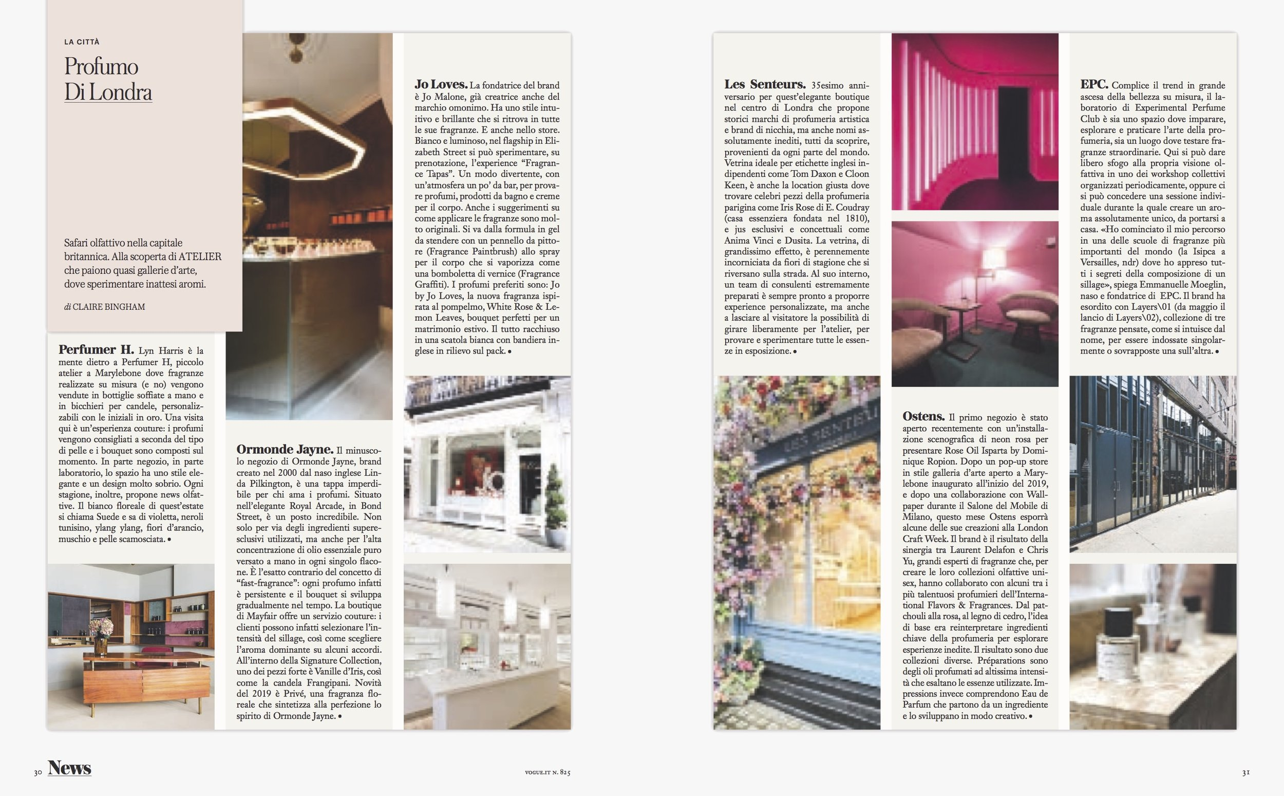 My article on London's perfume hot spots for Vogue Italia, May 2019