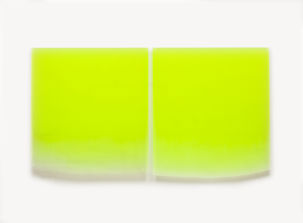 Peter Alexander, 12/5/11 (Large Flo Yellow Drip Diptych), 2011, Urethane, 2 panels each, 46 x 41 inches, 46 x 84.5 overall
