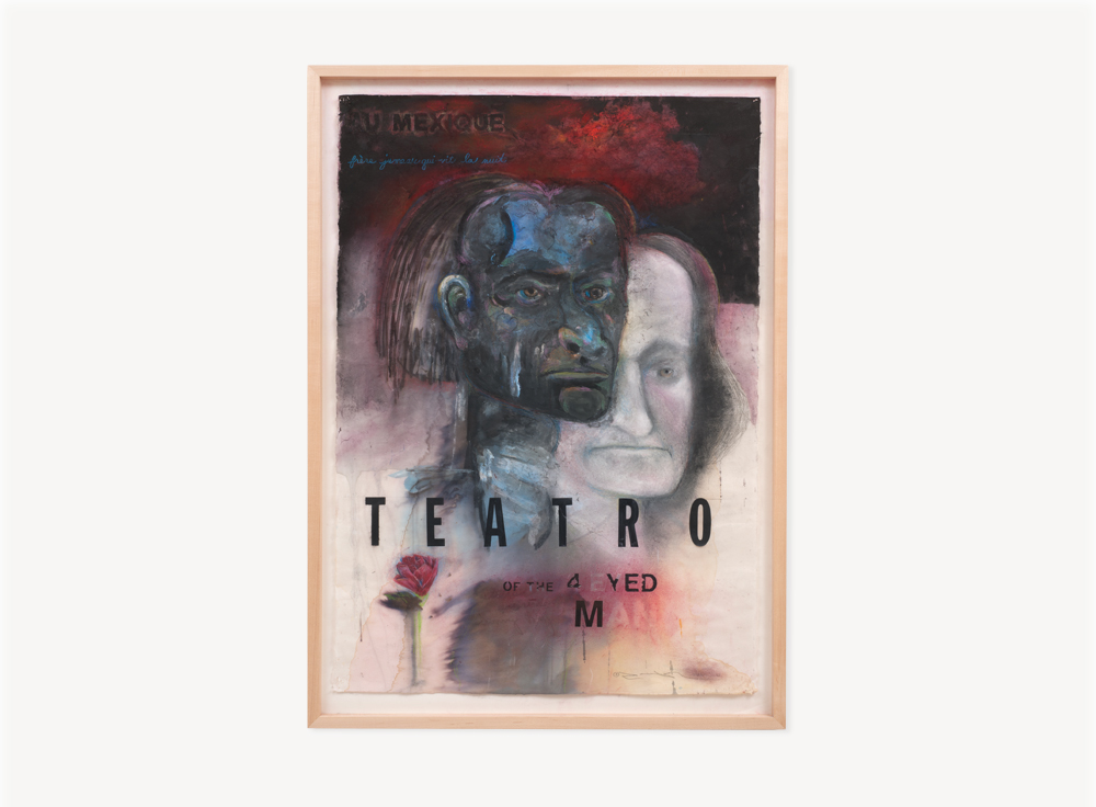 Terry Allen, Momo Chronicle III: Teatro of the 4-eyed Man; Teatro, 2009, Gouache, pastel, color pencil, graphite, press type, collage elements on paper, 41 x 21.5 inches