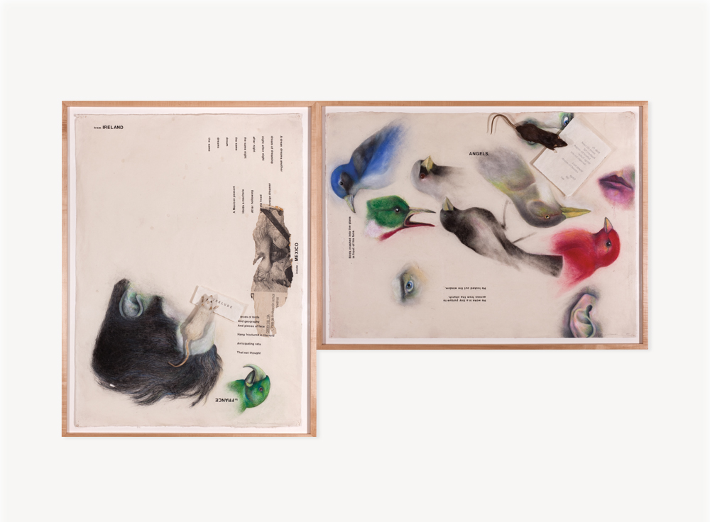 """Terry Allen, Momo Chronicle II: Angels: Pelican/Fantomas/Buzzard set, 2009, Gouache, pastel, color pencil, graphite, press type and collage elements, 3 panels: 31 x 21 x .5 inches each                                Normal    0                false    false    false       EN-US    JA    X-NONE                                                                                                                                                                                                                                                                                                                                                                                                                                                                                                                                                  /* Style Definitions */ table.MsoNormalTable {mso-style-name:""""Table Normal""""; mso-tstyle-rowband-size:0; mso-tstyle-colband-size:0; mso-style-noshow:yes; mso-style-priority:99; mso-style-parent:""""""""; mso-padding-alt:0in 5.4pt 0in 5.4pt; mso-para-margin-top:0in; mso-para-margin-right:0in; mso-para-margin-bottom:10.0pt; mso-para-margin-left:0in; mso-pagination:widow-orphan; font-size:12.0pt; font-family:Cambria; mso-ascii-font-family:Cambria; mso-ascii-theme-font:minor-latin; mso-hansi-font-family:Cambria; mso-hansi-theme-font:minor-latin; mso-fareast-language:JA;}"""