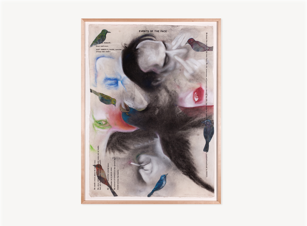 Terry Allen, Momo Chronicle IV:Rodez, Volver; Events of the Face, 2009, Gouache. Pastel, color pencil, graphite, press type, spackle and collage elements, 56.5 x 46.5 inches
