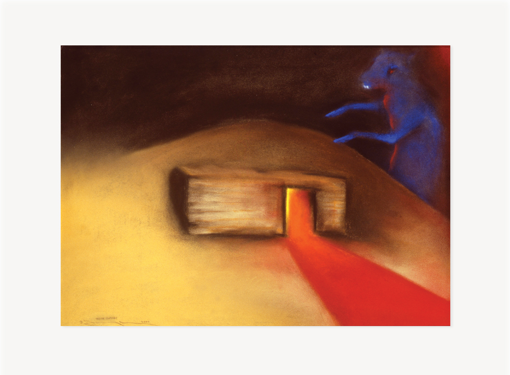 """Terry Allen, Inside Outside (""""Dugout"""" Set I, #4), 2000, Pastel on paper, 22.5 x 30.5 inches"""