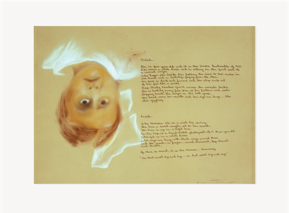 """Terry Allen, Humming (""""Dugout"""" Set I, #7), 2000, Pastel and ink on paper, 22.5 x 30.5 inches"""