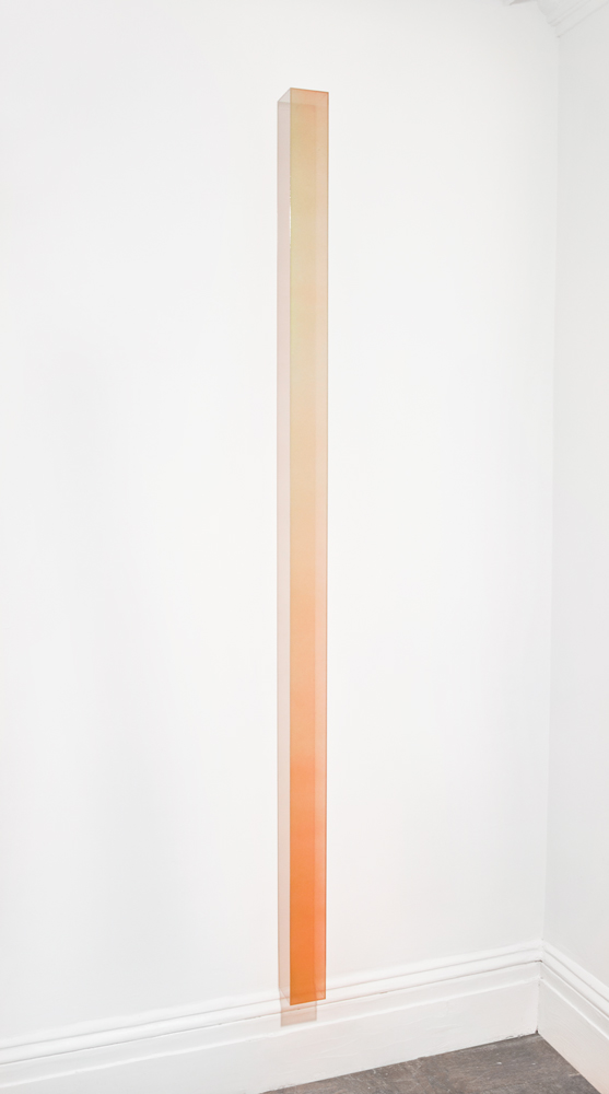 Ron Cooper, Vertical Bar (Warm Pink to Green, 2012, Plexiglass, urethane and nacreous pigment, 84 x 3.625 x 3.625 inches