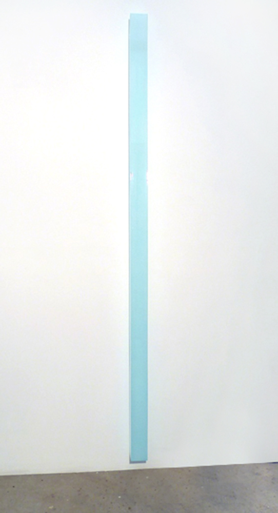Ron Cooper, Vertical Bar (Blue to gold), 2012, Two-stage urethane and nacreous pigment, transparent dyes on plexiglass, 96 x 3.625 x 3.625 inches