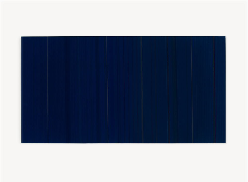 Brian Wills, Untitled (Navy Blue), 2010, Rayon thread, enamel, and linear polyurethane on wood, 24 x 48 inches