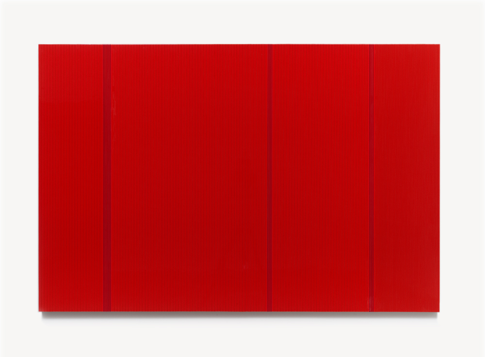 Brian Wills, Untitled (Red poly), 2012 Enamel, linear polyurethane and rayon thread on wood, 60 x 72 inches